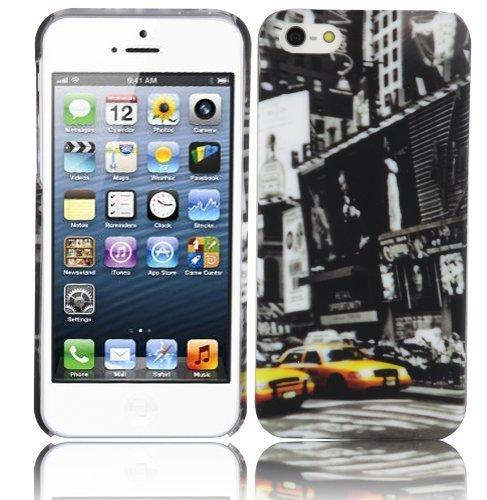 Preisvergleich Produktbild Cadorabo ! TPU Hard Cover für Apple Iphone 5 / 5S / 5G im Muster New York Cab