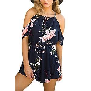 YOINS Jumpsuit Damen Kurz Sexy Overall Einteiler Schulterfrei für Damen mit Off Shoulder Top Oberteil Strandmode