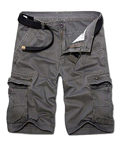 Uomo traspirante larghi bermuda pantaloncini casual pantaloni cargo con tasconi grigio 34
