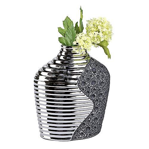 Bollweg Formano Dekorations-Vase \'Stone\' aus Keramik - mit Relief, Exklusive Handarbeit, Höhe: 25 cm, Silber, 1 Stück