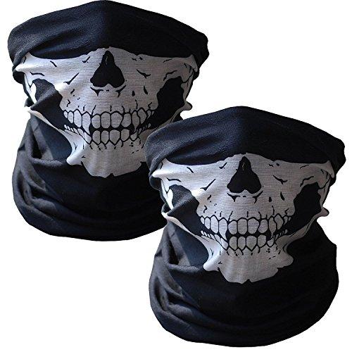 Tioamy Schädel Maske Premium Sturm Maske Totenkopf Skull Maske Multifunktionstuch Schlauch Nahtlos Schädel Sturmmaske Ghost für Motorrad Fahrrad Ski Paintball Gamer Halloween Karneval Kostüm (Sturm Kostüme Für Kinder)