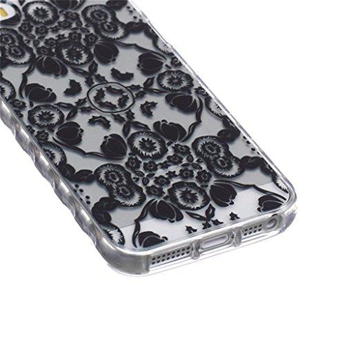 iphone 5 Coque, MYTH Doux Flexible - Coloré Parapluie Slim Silicone Ultra Mince TPU Bumper Protection Housse Pour iphone 5 / iphone 5s Mode Noir Fleur