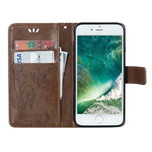 EUWLY Custodia Cover per iPhone 7/iPhone 8 (4.7), EUWLY Luxury Puro Colore Cover Case in PU Leather per [iPhone 7/iPhone 8 (4.7)] Modello Goffratura Fiore Farfalla Design Bumper Portafoglio Custodia Butterfly,Marrone chiaro