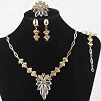 18k Gold Filled White Sapphire Clear Austrian Crystal Necklace Bracelet Earring Ring Jewelry Set
