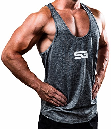 Satire Gym Fitness Stringer Herren - Funktionelle Sport Bekleidung - Geeignet Für Workout, Training - Tank Top (grau meliert, L) (Tank Top Herren)