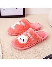 CWAIXXZZ zapatillas de felpa Lindo zapatillas de algodón grueso femenina invierno suave antideslizante estancia inferior home Zapatos de felpa parejas home zapatillas para hombres interiores ,36-37 (34-35 pies), vestida de rosa