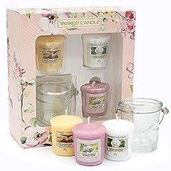 Idea Regalo - YANKEE CANDLE Collezione Garden Hideaway Set Regalo 3 Profumate e 1 Supporto per Candele Votive, Bianco