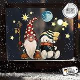 ilka parey wandtattoo-welt Fensterbild Weihnachtsdeko Weihnachten Zwerg Schneemann -wiederverwendbar- Fensterdeko Winter Fensterbilder Kinder bf92 - ausgewählte Größe: *1. Zwerg mit Schneemann*