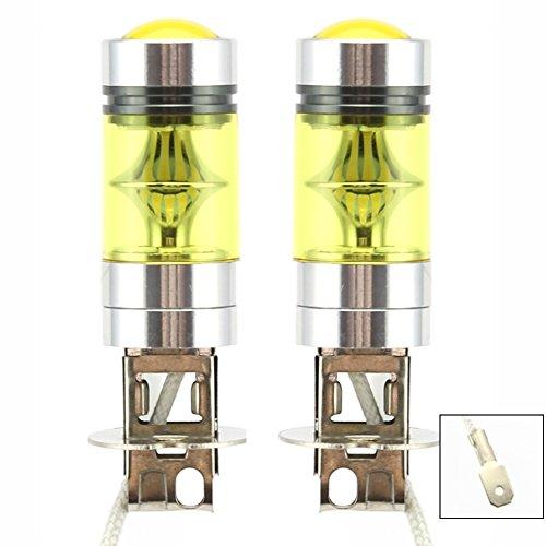 2 x H3 LED Niebla luz Bombilla 100W Alta Potencia 2323 SMD oro Amarillo Proyecto...
