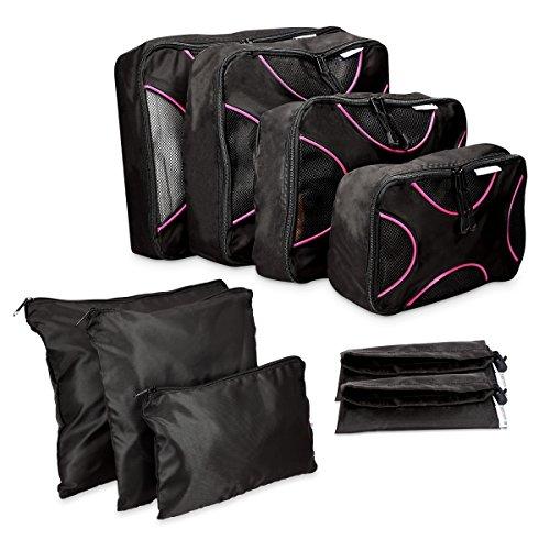 Navaris Koffer Packtaschen Set 9-teilig - Kleidertaschen Schuhbeutel Wäschebeutel Reise Gepäck Organizer - Travel Packing Cubes Schwarz...