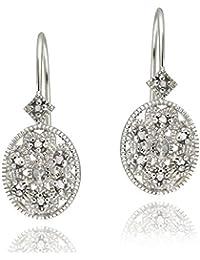 Boucles d'oreilles dormeuses ovales en argent sterling et en filigrane de diamant