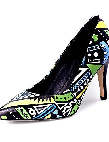WSS 2016 Chaussures Femme-Bureau & Travail / Décontracté-Bleu / Jaune-Talon Aiguille-Talons / Bout Pointu-Chaussures à Talons-Cuir blue-us7.5 / eu38 / uk5.5 / cn38