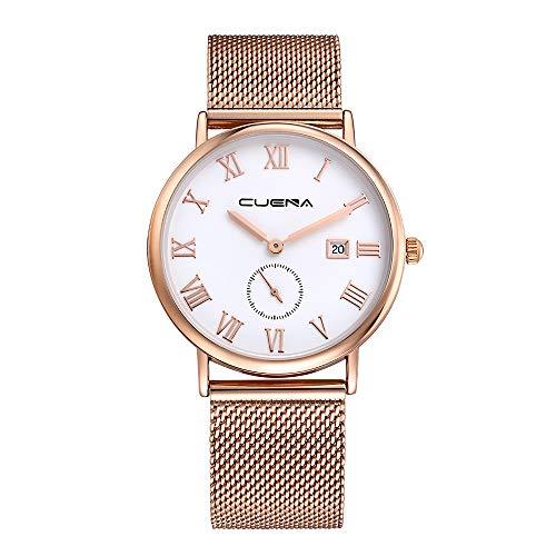 Damen Mode Einfache Analog Quarz Edelstahl Mesh Strap Handgelenk Schwarz Dünne Bügel/Edelstahl Band Unisex Minimalistische Beiläufige Uhr,Gold