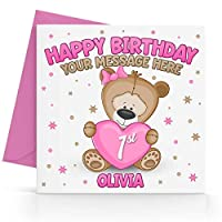 Personalised Girls Teddy Bear Birthday Card Any Age, Relative & Message