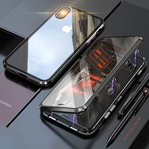 Yidai-Silu iPhone X/Xs Rundumschutz Case, 【Magnet König Ⅳ, Vorn + Hinten 9H Glas】 Stoßfest Alu Bumper Handy Hülle Stark Magnetisch Phone Cover für iPhone X/Xs 5,8 Zoll - Schwarz