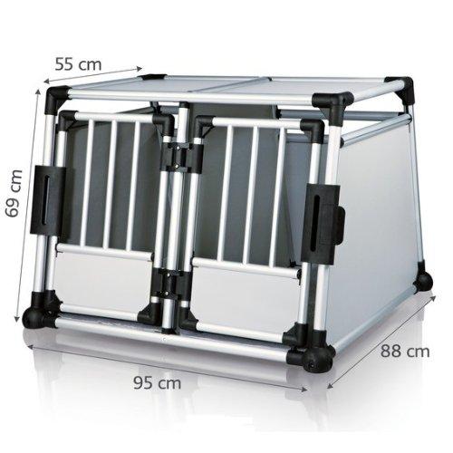 Alu-Hundetransportbox - Doppelbox Maxi