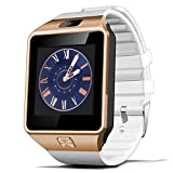 Kivors Bluetooth Reloj Inteligente DZ09, Smartwatch Teléfono Inteligente Pulsera con Cámara Pantalla Táctil Compatible con Tarjeta SIM / TF para iOS o Android HTC LG Huawei Sony Xiaomi (Gold+Blanco)
