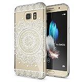 NALIA Handyhülle für Samsung Galaxy S7, Slim Silikon Motiv Case Hülle Crystal Schutzhülle Dünn Durchsichtig, Etui Handy-Tasche Back-Cover Transparent Bumper für Samsung S7, Designs:Circle Flowers