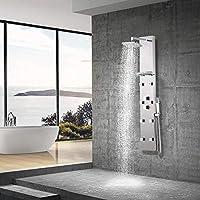 Elbe Colonne de douche Panneau de douche 8 jets de massage 3 modes de douche Colonne de douche thermostatique avec plateau de rangement en verre Colonne de douche hydromassante_RNP-R02