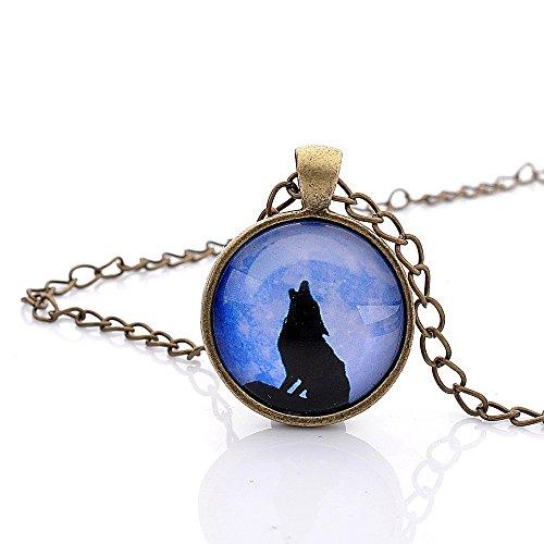 Lureme tempo serie gemma catena bronzo antico ululato del lupo pendenti a disco collana per le ragazze e le donne (01002601)