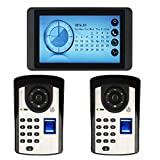 7 Zoll Farb-LCD-Touch-Taste Video Türsprechanlage Türklingel Gegensprechanlage Kit 1-Monitor 2-Kamera Nachtsicht/UnterstüTzung Aufnahme/Schnappschuss/Fingerabdruck + Passwort + Fernentriegelung