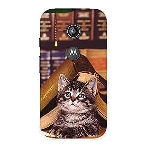 Cute Cat Book Back Case Cover for Moto E 2nd Gen