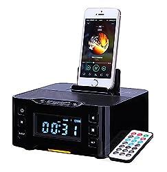 Powerlead Nfc Bluetooth Docking Speaker Supported Radio Alarm Clock For Applesamsunglg Phones & Tablets---black