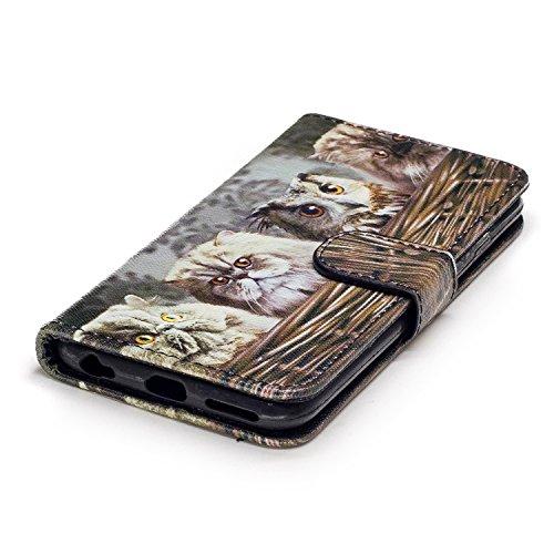 iPhone 6/6S 4.7 Cover a Libro,BtDuck Morbido Slim Custodia Pelle Borsa e Portafoglio Tasca Progettato Creativo Divertente Funny Animale Modello Flip Cover Case Morbido Silicone Back Case Bumper con Ma 6/6S 4.7-Gatto