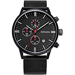 SONGDU Unisex Multifunction Chronograph Watch Full Black Big Face with Date Calendar and Milanese Mesh Band