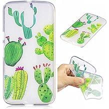 Moto G4 Hülle, G4 Plus Hülle, Motorola Moto G4 Hülle, Anlike Motorola Moto G4 /G4 Plus (5,5 Zoll) Handy Hülle Schutzhülle Handytasche Cover Case Weiche TPU Silikon Schlank Flexibel Handy Tasche - Kaktus