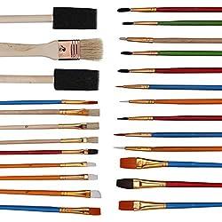 Juego de Pinceles (25 piezas): Acrílico, Pintura al Óleo, Pinceles para Acuarelas, Pincel de Cerdas Planas y 2 Cepillos de Esponja de Espuma Incluidos