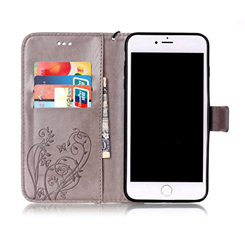 iPhone 7 Plus Hülle, iPhone 7 Plus Neo Hülle Case, iPhone 7 Plus Leder Brieftasche Hülle Case,Cozy Hut iPhone 7 Plus Leder Hülle iPhone 7 Plus Ledertasche Brieftasche Schutz Handytasche mit Standfunkt grau Schmetterling