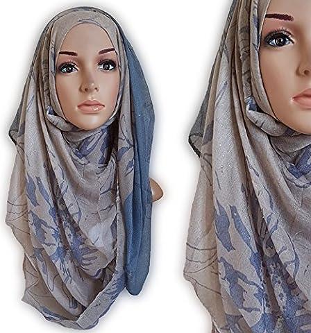 Rose Print Ombre Shimmer Hijab Printed Maxi Scarf Two Tone Three Tone Shawl Wrap (Deim Coffee)