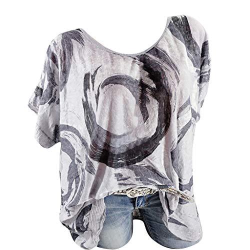 Kviklo Damen Westen Tank T-Shirt Sommer Gepunktet Druck Vintage Cap Kurzarm V-Ausschnitt Half-Button Top (Kostüme High Kleinkind-monster)