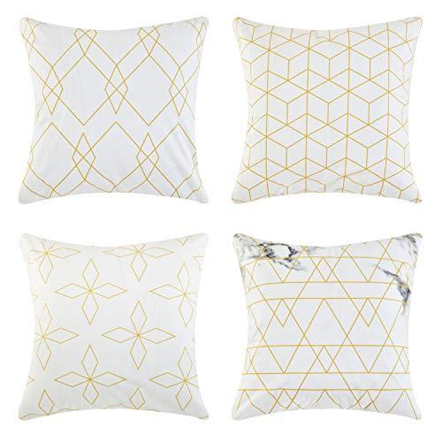 4 Stück Outdoor Sofa (Top Finel Geometrie quadratische Dekorative Überwurf-Kissenbezüge 50,8 x 50,8 cm, weiche Mikrofaser, Outdoor, Akzent-Kissen für Couch Sofa, Bett, 50 x 50 cm, 4 Stück)