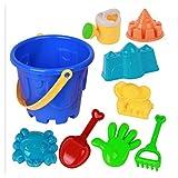 TOYMYTOY 9pcs giocattoli da spiaggia per bambini set strumenti sabbia castello spiaggia set con stampi per cartoni animati e secchio per piscine cortile e sabbiera (colore casuale)