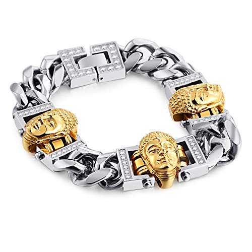 Gold Armband Jungen Armband Silber Herren Gold Silber Punk Buddha Statue Edelstahl Mit Zirkonarmband Gothic Herren Armband Blisfille (Versace Armband Männer)