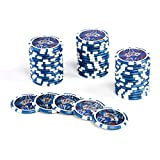 50 Poker-Chips Laser-Chips OCEAN-CHAMPION-CHIP Wert 50-12g Metallkern Poker Texas Hold`em Black Jack Roulette - Kanten abgerundet - blau