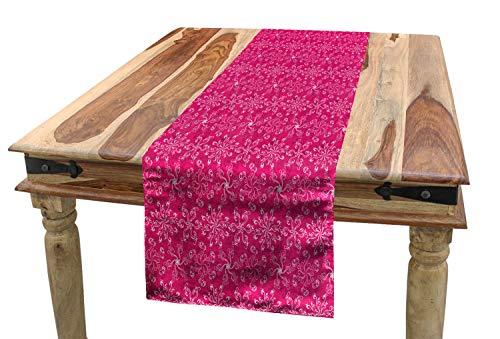 ABAKUHAUS Hot Pink Tischläufer, Frühling blühen Blüte, Esszimmer Küche Rechteckiger Dekorativer Tischläufer, 40 x 300 cm, Pink Lila Weiß