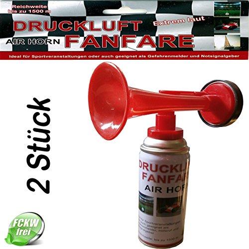 2 x Druckluft Fanfare, Signalhorn, Stadionhupe, Gashupe, Tröte, je 250ml