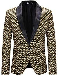 QitunC Uomo Blazer Giacche Stampa One Button Giacca Outwear Slim Fit Casual Vestito  di Affari Cappotto 6272f54c235
