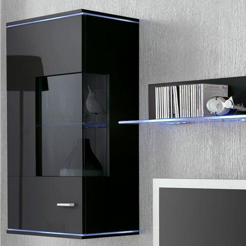 Anbauwand 5-tlg. Hochglanz Schwarz, 2 x TV-Element B: 110 cm, 2 x Hängevitrine B: 50 cm, Glasbodenpaneel B: 100 cm, Mindestb.: 230 cm, Tiefe: 42 cm - 2