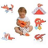 Labebe 【 Kostenloses Geschenk! - Kauf 1 Bekomme 1 Gratis Inspire Baby's Senses Spielzeug Geschenkset, 5 Stück, Rassel/Teether/Spirale/Sicherheit Decke - Orange Fox 5-in-1