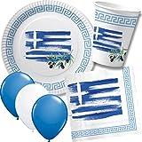 Carpeta 52-tlg. Party-Set * Griechenland * mit Pappteller + Servietten + Pappbecher + Luftballons für Kindergeburtstag // Teller Becher Servietten Party Geschirr Deko Geburtstag Mottoparty