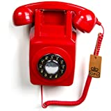 GPO 746 Push Button Retro Phone with Authentic Bell Ring and Wall Mount - Red