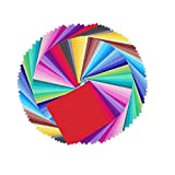Leisial 100 Stücke Einfarbig Origami Papier Weihnachten Faltpapier Einfarbig Faltpapier 15*15CM 50 Farbe