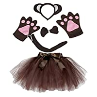 Petitebelle Headband Bowtie Tail Gloves Tutu 5pc Girl Costume 1-5y
