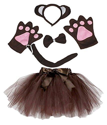 Petitebelle Stirnband Bowtie Schwanz Handschuhe Tutu 5pc Mädchen-Kostüm Einheitsgröße Braun Affe