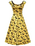 MUXXN Femme Robe de cocktail Fleurie Rose Robe Année 50 30 Vintage Audrey Hepburn Soiree Robe(XL, Yellow Floral1)