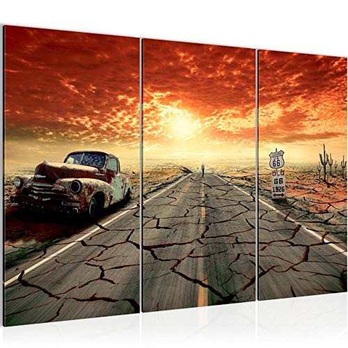 Photo Route 66 Décoration Murale 120 x 80 cm Toison - Toile Taille XXL Salon Appartement Décoration Photos d'art Orange 3 Parties - 100% MADE IN GERMANY - prêt à accrocher 600331a